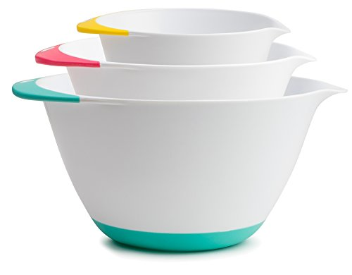 KUKPO Mixing Bowls - 3 piece set Includes 1.8 Qt, 3.6 Qt, 6.5 Qt, Easy Grip Handle With Non - Skid Bottom