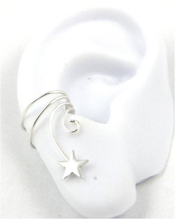 Sterling Silver Curly Q Star Ear Cuff Stamped Earring Right