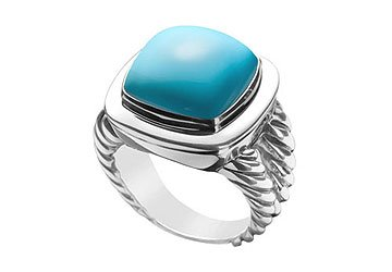 Turquoise Rope Ring 14K White Gold 10.00 CT TGW