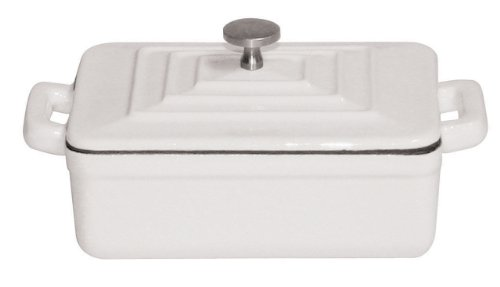 Paderno World Cuisine 0.375-Quart Rectangular Cast-Iron Casserole, White
