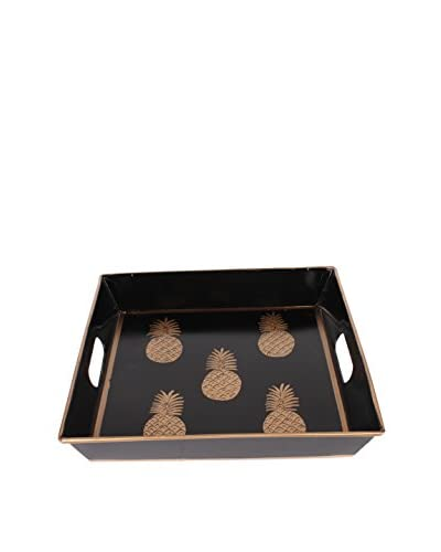 Jayes Pineapple Square Tray, Black/Gold