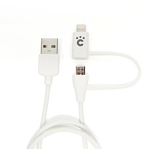 cheero 2in1 USB Cable with micro USB & Lightning connector (60cm) [ Apple社のMFi 認証取得済み ] 充電 / データ転送 ケーブル  iPhone 6 / iPhone 6 Plus / iPhone 5s / iPhone 5c /  iPhone 5/ iPad / iPad mini / iPad Air / iPod nano / iPod touch / Android / Xperia / Galaxy / 各種スマホ / タブレット対応