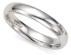 Comfort-Fit Plain Dome Wedding Band in 14k White Gold (4mm)
