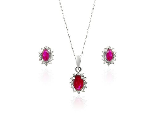9ct White Gold Ruby  &  Diamond Earrings  &  Pendant Set + 46cm Curb Chain