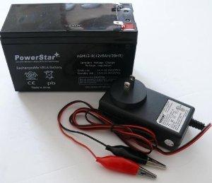 PowerStar-- NEW 12V 9AH 7.5ah 8ah 12 Volt SLA Sealed Lead Acid Fish Finder Battery/CHARGER