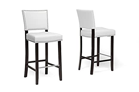 Aries White Modern Bar Stool with Nail Head Trim with Chanasya Polish Cloth Bundle (Set of Two)