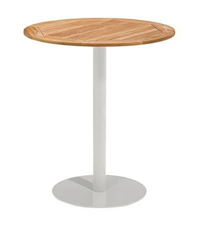 Oxford Garden Travira 36″ Round Bar Table, Powder Coated Aluminum/Teak