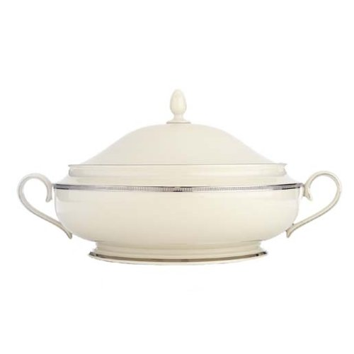 Lenox Tuxedo Platinum Ivory China Covered Vegetable Bowl