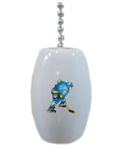 Blue Hockey Player Ceramic Fan Pull front-683660