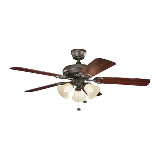 Kichler Lighting 339400Oz Sutter Place Premier 52-Inch 3-Light Ceiling Fan, Olde Bronze Finish With Reversible Blades And Umber Etched Glass Light Kit front-967362