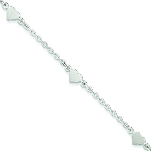 Sterling Silver 9 Polished Heart with 1 inch Ext. Anklet: Length 9 in