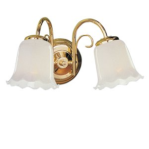 York Polished Brass Finish 2-Light Wall Bracket with Opal Shades, D772-2