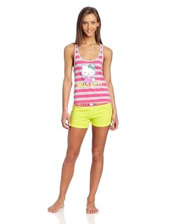 Hello Kitty Women's Stripe Short Set, Pink/ Heather Grey/Lime, X-large