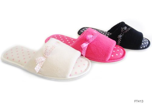 Ladies Black Spotty Open Toe Mule Slippers 3-4