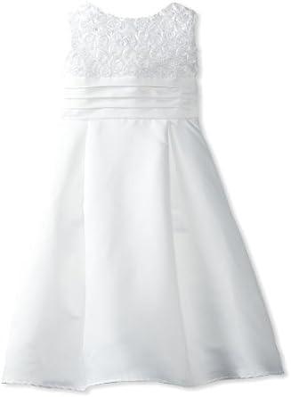 Jayne Copeland Big Girls' Flower Soutache Top With Satin Skirt, White, 16