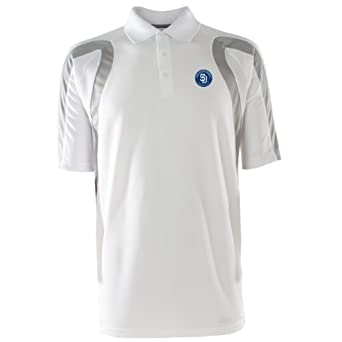 MLB Mens San Diego Padres Point Desert Dry Polo (Navy White, X-Large) by Antigua