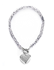 M&S Collection T-Bar Diamanté Heart Necklace
