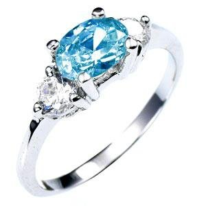 Aqua Prong Set W/Clear Accent CZ Rhodium Bonded Engagement Ring (7)