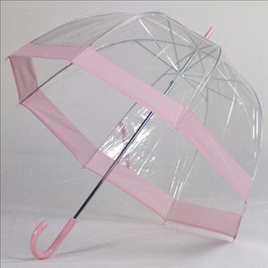Clear Bubble Umbrellas Pink Trim