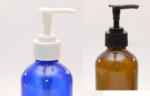 8 oz cobalt blue glass lotion soap dispenser with white - Cobalt blue bathroom accessories ...