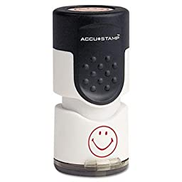 4 Pack - Accustamp Pre-Inked Round Stamp With Microban Smiley 5/8\