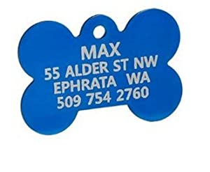 Regular, Blue - Anodized Bone Pet ID Tag, personalized pet id tags, free pet tags, cat id tag Pet Supplies / Shops