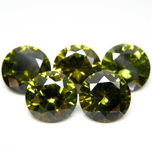 Round 9mm Olive Green CZ Cubic Zirconia Loose Stone Lot of 50 Pieces