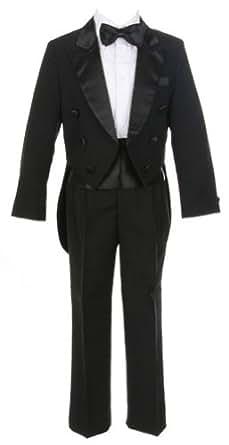 Sweet Kids Boys 5 pc Tuxedo With Tails 4T/4 Black (Sk M101B)