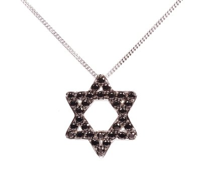 Symbols of Hope & Protection Necklace Pendant - Judaism the Star of David Brings Good Luck Sterling Silver & Black CZ