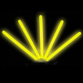"4"" Lumistick Glow Stick Light Sticks Yellow (Tube of 25)"
