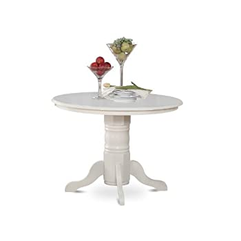 East West Furniture SHT-WHI-TP Round Kitchen Table, 42-Inch, Linen White Finish