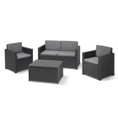 BEST 96114250 4-teilig Loungegruppe Menorca, graphit / coolgrau online bestellen