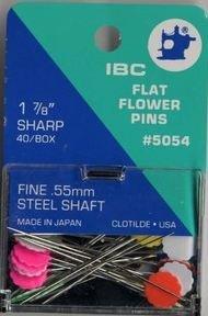 IBC flat flower pins fine .55 mm steel shaft 1 7/8