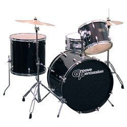 groove percussion pva14 4 piece drum set with cymbals and hardware musical instruments. Black Bedroom Furniture Sets. Home Design Ideas