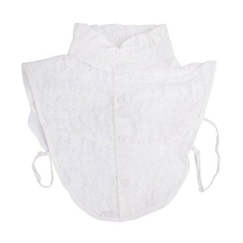 PIXNOR False collar Women Girls Lace Detachable False Collar Detachable Blouse Half Shirt (White)