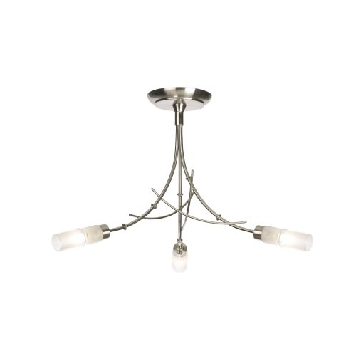 Bamboo Style In Satin Chrome Ceiling Light - 3 Arms