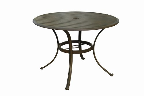 Panama Jack Outdoor Island Breeze Slatted Aluminum Round Dining Table in Espresso Finish with Umbrella Hole, 42-Inch picture