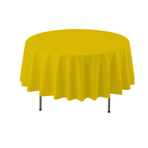 "Party Essentials Heavy Duty Round Plastic Table Cover, 84"", Harvest Yellow"