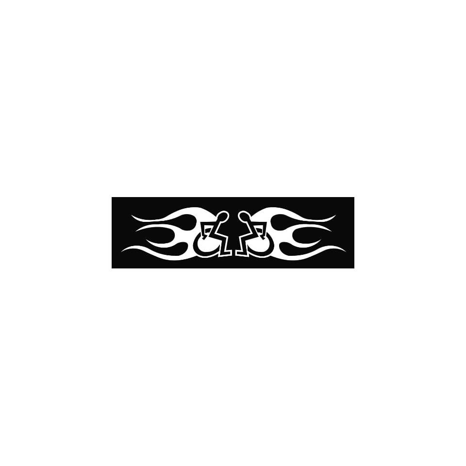 (2) Handicap Flames Die Cut Vinyl Decal Sticker 6 White