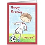 Soccer Player  5th Birthday Boy Card