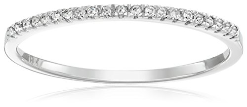 0.08 Carat (ctw) 10k White Gold Round White Diamond Ladies Dainty Anniversary Wedding Band Stackable Ring (Size 8.5)