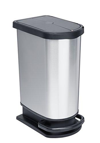 Mülleimer Mono PASO, geruchsdichter Abfalleimer aus Kunststoff in Edelstahl-Optik (PP), Treteimer mit 50 Liter Inhalt, ca. 44 x 29 x 67 cm