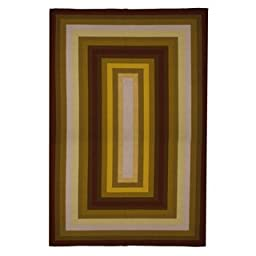 New Contemporary Area Rug 5 Feet X 8 Feet , Contemporary Gold, Yellow, Brown Red Stripe Pattern, Carpet, Soft Rug, Stain Resistant, Foyer, Dining Room, Living Room
