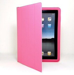 Cosmos PINK ultra slim PU Faux LEATHER smart Case / Cover Folio Stand Made to work with iPad 2 Wifi / 3G Model 16GB, 32GB, 64GB + COSMOS cable tie