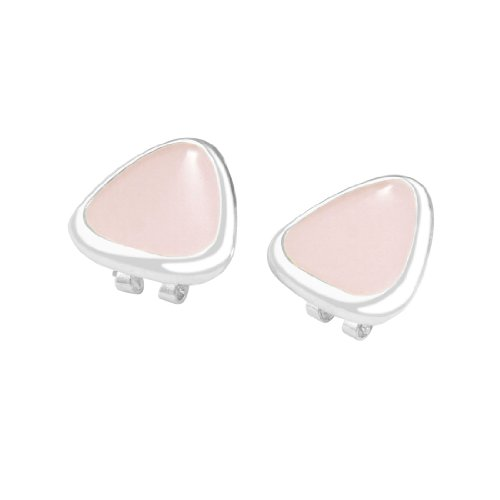 Rosallini Pair Light Pink Metal Triangle Shaped Clip Earrings for Ladies