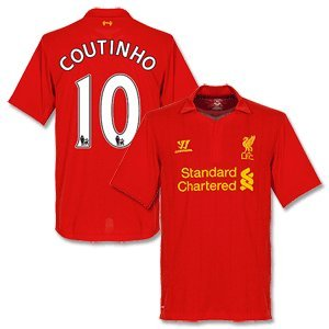 12-13 Liverpool Home Shirt + Coutinho 10-M from Warrior