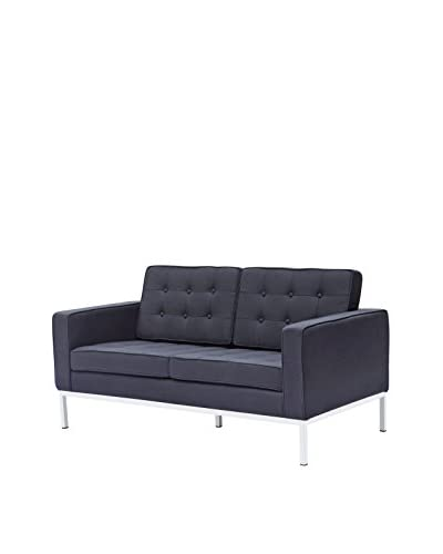 Manhattan Living Button Loveseat, Black