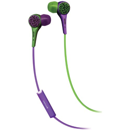 Maxell 190346 Wt-Micgp Wild Things Headphones With Mic, Green And Purple