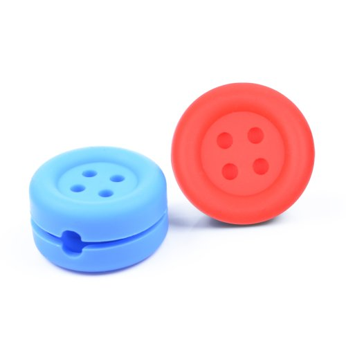 Case Star ® 2 Pcs Assorted Colors (Red, Blue) Button-Shaped Heavy Duty Silicone Bobbin Winder Wrap Organizers For Earphone/Ear Bud Cord With Case Star Velvet Bag