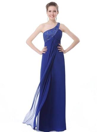 Ever Pretty Women's Elegant One Shoulder Open Back Formal Evening Dress, Blue, 4